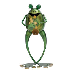 None - Metal Musician Frog Statue - Even if you can't hear him play, be ready for a fly jam with this 14-inch frog musician statue ready to blow some cool garden tunes. This bright Verdi Green garden metal sculpture is cast in quality and individually hand-painted as swinging frog figurine.