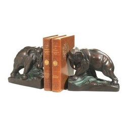 Large Elephant Bookends - The uniquely beautiful design of the Large Elephant Bookends will add a sense of majesty to your bookshelf. This pair of bookends pays tribute to the most regal of pachyderms the elephant. Made of quality polyresin and finished gorgeous bronze. Large Elephant Bookends make a fitting gift for the elephant enthusiast. Made in the USA. Dimensions: 4L x 9W x 8H inches.