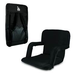 Picnic Time - Los Angeles Dodgers Ventura Seat Portable Recreational Recliner in Black - This Ventura Seat is a portable recreational recliner with armrests and adjustable backpack straps you can take just about anywhere. It's filled with high-density PU foam which provides the firmness you need to prevent aches in your back and bottom. If you prefer a wider seat over armrests, you can invert the armrests to increase the width of the seat to 20 inches. Six backrest positions offer a range of comfort possibilities, and adjustable backpack straps accommodate people of all heights. The Ventura Seat is great for the beach, pool, picnics, spectator sports or for dorm living and video gaming.The Ventura Seat is a portable recreational recliner with armrests and adjustable backpack straps you can take just about anywhere. It comes in four colors: Red, Lime, Blue and Black. Armrests mean comfort for some of us and the Ventura Seat won't disappoint. In addition, it's filled with high-density PU foam which provides the firmness you need to prevent aches in your back and bottom. If you prefer a wider seat over armrests, you can invert the armrests to increase the width of the seat to 20 inches. Six backrest positions offer a range of comfort possibilities, and adjustable backpack straps accommodate people of all heights. The Ventura Seat is great for the beach, pool, picnics, spectator sports or for dorm living and video gaming.; Decoration: Digital Print