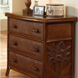 Hospitality Rattan - Hospitality Rattan Cancun Palm Three Drawer Chest - TC Antique Multicolor - 401- - Shop for Dressers from Hayneedle.com! The Hospitality Rattan Cancun Palm Three Drawer Chest - TC Antique stands out because of its fine rattan and herringbone wicker weaving making a fantastic addition to any bedroom decor. It also features a fiber palm tree castings design to lend a tropical feel to the room. The woven leather bindings used throughout the Cancun Palm chest ensures its durability and quality for many years of use. In addition metal glides are used on all three drawers. No assembly required. Dimensions: 36W x 22D x 35H inches.About Hospitality RattanHospitality Rattan has been a leading manufacturer and distributor of contract quality rattan wicker and bamboo furnishings since 2000. The company's product lines have become dominant in the Casual Rattan Wicker and Outdoor Markets because of their quality construction variety and attractive design. Designed for buyers who appreciate upscale furniture with a tropical feel Hospitality Rattan offers a range of indoor and outdoor collections featuring all-aluminum frames woven with Viro or Rehau synthetic wicker fiber that will not fade or crack when subjected to the elements. Hospitality Rattan furniture is manufactured to hospitality specifications and quality standards which exceed the standards for residential use.Hospitality Rattan's Environmental CommitmentHospitality Rattan is continually looking for ways to limit their impact on the environment and is always trying to use the most environmentally friendly manufacturing techniques and materials possible. The company manufactures the highest quality furniture following sound and responsible environmental policies with minimal impact on natural resources. Hospitality Rattan is also committed to achieving environmental best practices throughout its activity whenever this is practical and takes responsibility for the development and implementation of e
