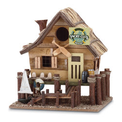 """KOOLEKOO - Yacht Club Birdhouse - Feathered friends can weather the storm in this wooden """"yacht club,"""" complete with straw roof, wooden dock and quaint nautical knickknacks."""
