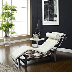 Modway - Modway LC4 Leather Chaise - White - EEI-129-WHI - Shop for Chaises from Hayneedle.com! Give yourself an instant relaxation station with the Modway LC4 Leather Chaise - White. Supple white leather upholstery makes it an elegant and comfortable piece in your modern space. This classic Le Corbusier design features a stainless steel base in a sleek recognizable shape.About ModwayModway designs and manufactures modern classic furniture pieces for the contemporary home. The quality pieces are fresh and elegant with a distinctively updated appeal. Simple clean lines and a vibrant selection of colors and finishes make these pieces perfect for the home or office. A wide selection of products include pieces for the living room dining room bar office and outdoors. High-quality and innovative designs make Modway the premier company for luxurious modern style.