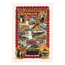 """Buyenlarge.com, Inc. - The Homecoming March- Paper Poster 12"""" x 18"""" - Edward Taylor Paull (1858 - 1924) was a prolific publisher of sheet music marches. His songs gained acclaim more from the cover art of the sheet music than often from the lyrics and tune."""