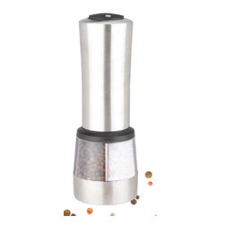 HomeStart - HomeStart 2 in 1 Electric Salt & Pepper Grinder Stainless Steel - This Grinder is great for preparing and serving meals. Fill it with your favorite Sea Salt or Peppercorns and season your meal with just one hand. Press the appropriate button to get salt or pepper without any strain. HomeStart Products are made with you in mind. Lefties can use it, Righties can use it, young or old. Elegant Modern Design will match your kitchen and give it a special glow.