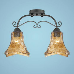 Millennium Lighting - Chatsworth Burnished Gold Two-Light Semi-Flush with Umber Swirl Glass - -Umber Swirl Glass Millennium Lighting - 7122-BG