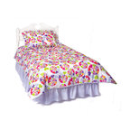 Room Magic - Heart Throb Twin Comforter/Bedskirt/Sham Set - Your girls heart will throb over this fun designer fabric with graphic swirls of multi-colored hearts. Coordinating comforter,  ruffled solid bed skirt and ruffled print sham set make the  Heart Throb bedding theme complete.  Available in Twin size in the finest 100% cotton poplin.