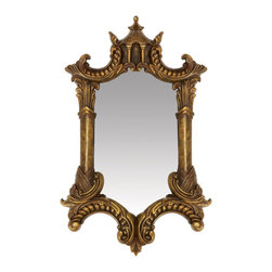 Sterling Industries - Sterling Industries Gold Plume Mirror X-M3535-62 - A heavy frame with detailing inspired by traditional carving, this Sterling Industries Gold Plume Mirror is designed to catch your eye. Whether you use it in a bathroom, a foyer, or a main living space, you'll fall in love over and over again with the unique frame shape, rich details and colors.