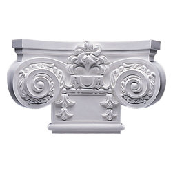 """Ekena Millwork - Small Empire Capital with Necking(Fits Pilasters up to 7 3/4""""W x 3/4""""D) - 16 7/8""""W x 10 1/4""""H Small Empire Capital with Necking (Fits Pilasters up to 7 3/4""""W x 3/4""""D). Our appliques and onlays are the perfect accent pieces to cabinetry, furniture, fireplace mantels, ceilings, and more. Each pattern is carefully crafted after traditional and historical designs. Each polyurethane piece is easily installed, just like wood pieces, with simple glues and finish nails. Another benefit of polyurethane is it will not rot or crack, and is impervious to insect manifestations. It comes to you factory primed and ready for your paint, faux finish, gel stain, marbleizing and more."""
