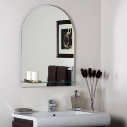 Roland Frameless Wall Mirror with Shelf - 23.6W x 31.5H in. - Give your bathroom a modern new look with the Roland Frameless Wall Mirror featuring a beautiful rounded look and console for your toiletries. Crafted of thick strong 3/16 inch glass and metal this mirror has double coated silver backing with seamed edges. The mounting hardware is included- it comes ready to hang! Intended to hang vertically it is great for bathrooms living room or bedroom. Shelf measures 21.5W x 4.75D inches. About Decor Wonderland of USDecor Wonderland US sells a variety of living room and bedroom furniture mirrors lamps home office necessities and decorative accessories. Decor Wonderland strives to add variety to their selection so that every home is beautifully and perfectly decorated to suit their customer's unique tastes.