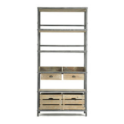 Kathy Kuo Home - Ardsley Industrial Loft Gray Metal Bakers Rack Bookcase - Simple design wins the day in this industrial style bookcase. Six recycled wood shelves rise up from a vintage grey metal frame, providing all the storage you need with a clean, minimalist look. Equally versatile as a bookcase or storage rack for any room in your modern loft - wherever you place this piece, its appealing open design and light finish will keep your space feeling uncluttered.