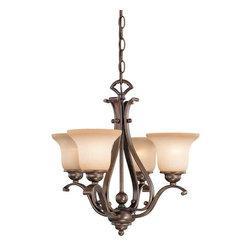 Vaxcel - Tuscan Four Light Dual Mount Chandelier - Antique Brass - Bulb Base: Medium (E26). Bulb Wattage: 100. Bulb Count: 4. Bulbs Not Included