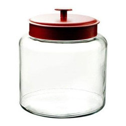 Anchor Hocking - 1.5gal Montana Jar w Red Cvr - Clear Glass 1.5 Gallon Montana Jar with Red Cover.