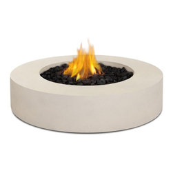 "Real Flame - Real Flame Mezzo Round Propane Fire Pit - Antique White - Define your outdoor space with the clean design of a Real Flame Mezzo Round Fire Table. Cast from a high performance, lightweight fiber-concrete with an outdoor safe finish, this fire table comes complete with lava rock filler and a weatherproof cover for when the table is not in use. The Mezzo Collection carries an ETL Certification and features an electronic ignition. Collection available in Flint Grey or Antique White finishes.-Burns Liquid Propane, rated at up to 60,000 BTUs of heat-Certified for use with standard 20lb LP tank, for up to 7 hours (high setting) or 22 hours (low setting) of burn time.-Cast from painted fiber-concrete and heavy gage steel.-Limited Warranty: 90 days on fiber-concrete finish, 1 year for all components-Basic assembly required-Assembled Dimensions: 42.25"" D x 11.5"" H; 117 lbs.-Includes: LP fire table, 60,000 BTU circular burner, medium black lava rock, electronic ignition, leveling feet, 8 gas hose, tank seat for 20lb. LP cylinder, vinyl cover"