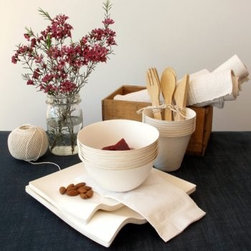 Wasara Party Kit - I almost jumped up and down when I found this neutral party kit made of recycled, compostable paper products and bamboo utensils. You can choose a kit sized for as few as 8 or as many as fifty people. I think this would be great to keep on hand over the next couple of months.