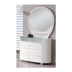 Global Furniture - 3 Drawer Dresser w Mirror Set in White Finish - Includes 3 drawer dresser and mirror. Made of MDF and paper veneer. Dresser: 47 in. W x 22 in. D x 31 in. H. Mirror: 43 in. W x 39 in. H