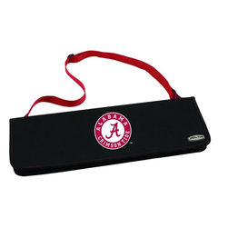 """Picnic Time - University of Alabama Metro BBQ Tote in Red - The Metro BBQ Tote stands out among other portable barbecue tool sets. It's a 3-piece BBQ tool set with silicone handles in an attractive black polyester zip-up case with an adjustable shoulder strap to match the handles of the tools inside. It includes three stainless steel tools: 1 large spatula featuring a built-in bottle opener, grill scraper, and serrated edge for cutting (17.5"""") , 1 BBQ fork (17""""), and 1 pair of tongs (16.5""""). All three tools have long handles to keep your hands away from the flames and metal loops at their ends to hang them on your barbecue. Why not add a little color to your day with the Metro BBQ Tote?; College Name: University of Alabama; Mascot: CrimsonTide; Decoration: Digital Print; Includes: Includes three stainless steel tools: 1 large spatula featuring a built-in bottle opener, grill scraper, and serrated edge for cutting (17.5"""") , 1 BBQ fork (17""""), and 1 pair of tongs (16.5""""). All three tools have long handles to keep your hands away from the flames and metal loops at their ends to hang them on your barbecue."""