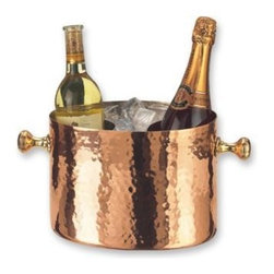 Old Dutch - 10.25 x 7.5 x 7 Decor Copper Double Chiller with Aluminum Insert 7-Quart - Keep your libations at the perfect temperature with this elegant hammered solid copper 2 bottle chiller. Removable Insert. Lacquered to resist tarnishing.