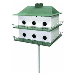 HEATH MFG - Purple Martin House - Easy to assemble. This unit is two tiers with twelve compartments. Side panels lift for easy cleaning. A beautiful addition to any lawn. All plastic, white with green roof and trim.