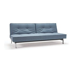 """Innovation USA - """"Innovation USA"""" Splitback Mixed Dance Light Blue Sofa Bed with Chrome Legs - Decorate your living room with the """"Innovation USA"""" Splitback Mixed Dance Light Blue Sofa Bed with Chrome Legs. This sofa have adjustable back. It allow to transform it from sofa to chaise or bed. Tufted back make this sofa more interesting.    Features:"""