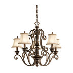 Kichler Lighting - Kichler Lighting KCH-43279-TRZ Mithras 5-Light Traditional Chandelier - Romantic curves and refined styling make this 5 light chandelier from the Mithras collection an elegant showpiece. Featuring a unique Terrene Bronze™ finish and shown with OPTIONAL Beige Patterned Fabric shades(4086BG), this design will elevate and enhance your home.