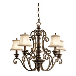 Kichler Lighting - Kichler Lighting Mithras 5-Light Traditional Chandelier X-ZRT97234 - Romantic curves and refined styling make this 5 light chandelier from the Mithras collection an elegant showpiece. Featuring a unique Terrene Bronze&trade: finish and shown with OPTIONAL Beige Patterned Fabric shades(4086BG), this design will elevate and enhance your home.