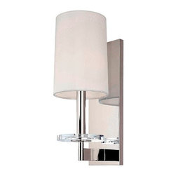 Hudson Valley Lighting - Chelsea Wall Sconce | Hudson Valley Lighting - Design by Hudson Valley, 2010.Hudson Valley's Chelsea Wall Sconce offers a clean silhouette in glamorous finishes. Its soft white shade tops a slim cylinder arm with a sleek crystal bobeche beneath. Its long, rectangular backplate mirrors the fixture's lean vertical orientation. Candle cup shade attachment. Hard-wired.