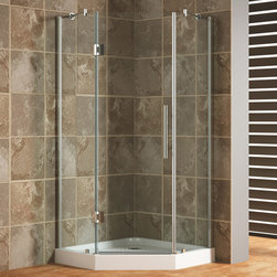 "42"" x 42"" Frameless Neo-Angle Shower Enclosure - Perfect for a larger corner, the 42"" Neo Angle Frameless Shower Enclosure features understated looks with tempered glass and a streamlined aluminum handle."