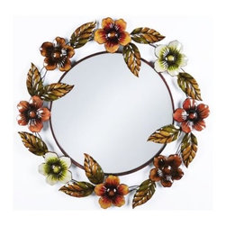 """Fields of Color Mirror - The """"Fields of Color"""" mirror is crafted of metal with multidimensional flower designs in lacquered finishes of red, orange, brown and celadon.  Additional detailing includes embossed leaf accents with caramel tips."""