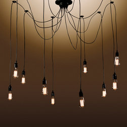 Warehouse of Tiffanys - Warehouse of Tiffany's 10-Bulbed Chandelier - This Warehouse of Tiffany's 10-bulbed Chandelier brings in a unique design that is sure to grab attention. It features 10 hanging bulbs and a black finish for an edgy look.
