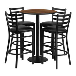 "Flash Furniture - 30'' Round Walnut Table Set with 4 Ladder Back Bar Stools - Black Vinyl Seat - 30"" Round Walnut Laminate Table Set with 4 Ladder Back Metal Bar Stools - Black Vinyl Seat. Round Table and Metal Restaurant Bar Stool Set; Set Includes 4 Bar Stools, Round Table Top and Round Base; Metal Restaurant Bar Stool; Ladder Style Back; Black Vinyl Upholstered Seat; 2.5"" Thick 1.4 Density Foam Padded Seat; CA117 Fire Retardant Foam; 18 Gauge Steel Frame; Welded Joint Assembly; Two Curved Support Bars; Foot Rest Rung; Black Powder Coated Frame Finish; Plastic Floor Glides; Lightweight Design; Designed for Commercial Use; Suitable for Home Use; Overall Size: 17""W x 18""D x 42.25""H; Seat Size: 16.75""W x 16.5""D x 31""H; Back Size: 15""W x 12""H; Restaurant/Banquet Table Top; 1.125"" Thick Round Top; Overall dimensions: 30""W x 30""D x 42""H"