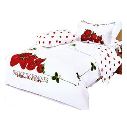 Le Vele - Le Vele Strawberry, 6PC Duvet Cover Sheet Set Bed in Gift Box, Full/Queen LE58Q - A vibrant picture of fresh strawberries on the corner of this duvet and on the pillow cases, with a green solid line and green strawberry leaves framing the bed against a pure white background create a beautiful refreshing effect. {DELICE DE FRAISES}  is written in French for delicious strawberries. It all reverses to more small scattered strawberries.