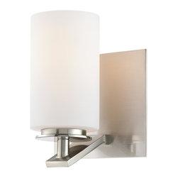 Minka Lavery - Minka Lavery 6551-84 Inoui Brushed Nickel 1 Light Bathroom Wall Sconce - Etched White Glass Shade