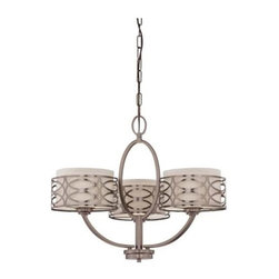 Nuvo - 3 Light - Chandelier - Khaki Fabric Shades - Khaki Fabric Shades Shade. UL Dry Rated. Incandescent . Color/Finish: Hazel Bronze. Max wattage: 60w. Bulb(s) not included. 25 in. W x 20.375 in. H