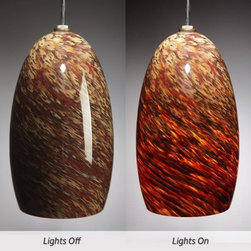Suzanne Guttman - Granite Fire Blown-glass Pendant Light - The beautifully crafted Granite Fire Pendant glows warm and rich when lit, and cools to a calm earth tone palette when off, a mixture of aubergine, Tea, Cream, and Copper Ruby