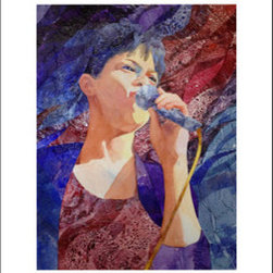 """Bluesinger"" (Original) By Deborah Conn - She Was So Lovely In The Spotlight, Singing The Blues. Painting Is Matted, Under Plexiglas, In A Thin, Matte-Black Metal Frame."