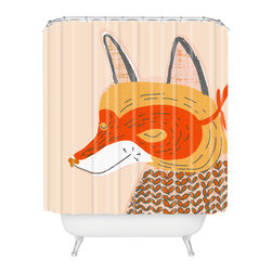 DENY Designs - Mummysam Mr Fox Shower Curtain - Who says bathrooms can't be fun? To get the most bang for your buck, start with an artistic, inventive shower curtain. We've got endless options that will really make your bathroom pop. Heck, your guests may start spending a little extra time in there because of it!