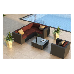 Urbana 5-Piece Modern Patio Sectional Set, Henna Cushions