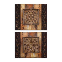 Uttermost - Uttermost Ornamentational Block Art Set of 2 51054 - This frameless artwork features center, three dimensional, Medium size:allions of metal with an aged, rustic finish.
