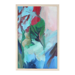 Lost Art Salon - Original Late 20th C. Framed Abstracted Oil Figure by Anna Poole - Late 20th century artist Anna Poole painted abstract figures and landscapes with an expressive, sensual style that combined cool, nature-inspired greens and blues with splashes of passionate warm colors. This feminine figure with her natural curves and pink undertones can lend a soft, human touch to your space.