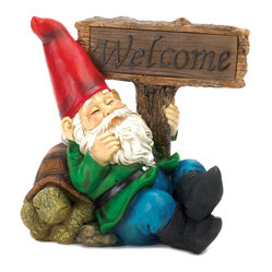 KOOLEKOO - Welcome Gnome Solar Garden Statue - Welcome guests to your sleepy little hollow with this charming duo of a tired gnome and his lethargic tortoise pal. This solar-powered statue features a friendly welcome sign that lights up at night! Set it in a sunny spot in your yard or garden and enjoy.