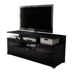 South Shore - South Shore City Life II Contemporary Style TV Stand in Black Oak - South Shore - TV Stands - 4147676 - This City Life II TV Stand in Black Oak Oak finish encompasses all the winning features of an entertainment center into one TV stand ideal to help you create that living room you always imagined. In addition to its ergonomic height the combination of open and closed storage spaces allow both easy access to electronic devices and discreet storage for a tidy living room. The metal accents and the metal handles in a Metallic Gray finish that match its metal look-alike legs will bring elegance to your contemporary decor. Offers 4 open storage spaces perfect for electronic devices 2 storage spaces behind each door separated by an adjustable shelf a hole in the back panel for easy and convenient wire management and a practical drawer equipped with metal slides. A tinted glass insert in each door allows remote control signal to reach electronic devices kept behind closed doors. It can accommodate a TV up to 60 inches and its weight capacity is 150 pounds. The back surface is not laminated. New and improved drawer bottoms made with wood fibers. Manufactured from certified Environmentally Preferred laminated particle panels. Complete assembly required by 2 adults. Tools are not included.  5-Year limited warranty.