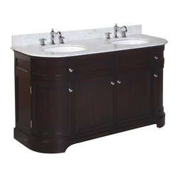 Kitchen Bath Collection - Montage 60-in Double Sink Bath Vanity (Carrara/Chocolate) - This bathroom vanity set by Kitchen Bath Collection includes a chocolate cabinet with Italian Carrara marble, double undermount ceramic sinks, pop-up drains, and P-traps. Order now and we will include the pictured three-hole faucets and a matching backsplash as a free gift! All vanities come fully assembled by the manufacturer, with countertop & sink pre-installed.