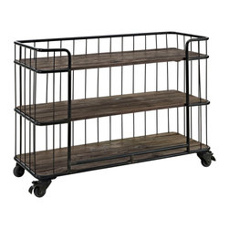LexMod - Cinch Stand in Brown - Display your wares with the Cinch urban vintage shelving cart. Made with three solid pine wood shelves and a black painted iron wire surround design, Cinch is useful both for storage and as a serving cart. Outfitted with four wheels with locking mechanisms for mobile and stationary use, Cinch is perfect in rustic or contemporary lounge, bar, dining and living areas.