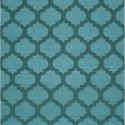Frontier Moroccan Aqua Hand-Woven Wool Rug - This rug is not necessarily the boldest of all, but its large Moroccan tile–inspired pattern mixed with tones of turquoise and hunter green makes it an ideal foundation to a moody room in blues and greens.