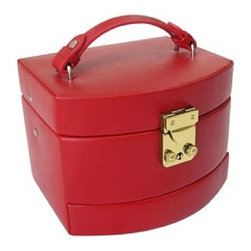 Morelle - Laura Leather Expandable Jewelry Box, Red. - This spacious jewelry box opens up to 3 expandable drawers making it nice and roomy for the organized woman with lots of jewelry and accessories. Features mirror on inside lid with lock and key for safety.