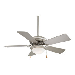 """Minka Aire - Mink Aire Supra 44 SP Ceiling Fan in Brushed Steel - Minka Aire Supra 44 SP Model F563SP in Brushed Steel with Silver Finished Blades. Medium 10 1/2"""" Diameter Single Light Fixture with Opal Glass ."""