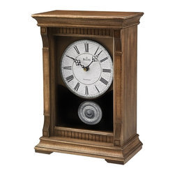 BULOVA - Warrick III Mantel Clock with Triple-chime movement - The Warrick III Mantel Clock with Triple-chime movement by Bulova has an antique look with modern parts and exquisite detail. This oak mantel clock will match perfectly with an oak or light to medium colored wood. Don���t let its rustic weathered look fool you, the Warrick III Bulova mantel clock uses the latest production procedures and is made to look like am antique timepiece without the antique price tag.    Made with a solid wood veneer case and pewter-finished bezel ring and pendulum, this Bulova mantel clock plays with Westminser, Ave Maria or Bim-Bam chimes at the top of the hour. Measuring 12.25��� x 8.5��� x 4.5���, it will make itself seen without distracting from other d��cor. If you are looking for a classic looking oak mantel clock, you���ve found it.
