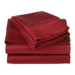 1000 Thread Count Egyptian Cotton Queen Burgundy Stripe Sheet Set - 1000 Thread Count Egyptian Cotton oversized Queen Burgundy Stripe Sheet Set