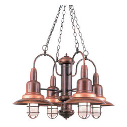 THE SHIPMATE 4-LIGHT CHANDELIER - 4-Light Shipmate Chandelier shown in 77-Rosewood Finish with FR Globes