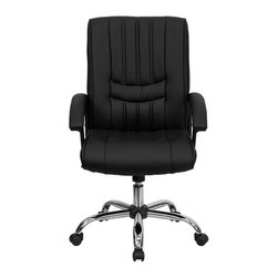 Flash Furniture - Mid-Back Black Leather Manager's Chair - This attractive office chair is appealing with its vertical line inset stitching in the seat and back. This chair not only exudes appeal but comfort with plush padding in the seat and back. Upgrade your home or office chair with this charming black leather chair from Flash Furniture.